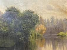 Oil on Canvas Wooded Pondscape Artwork