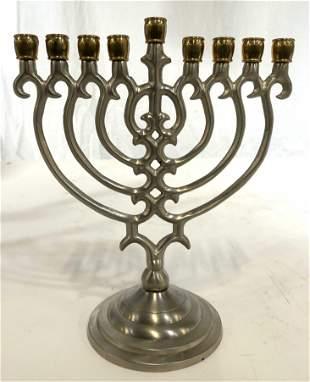 Vintage Pewter Judaica Tabletop Menorah