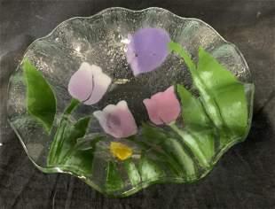 Art Glass Floral Bowl