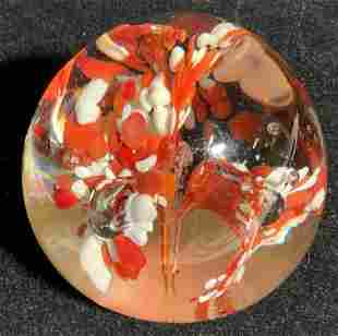 Red & White Art Glass Paperweight