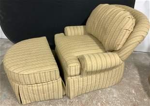 Upholstered Armchair w Ottoman