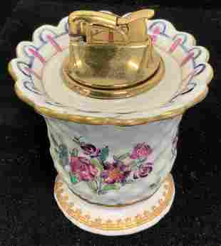 Signed Hand Painted French Porcelain Table Lighter
