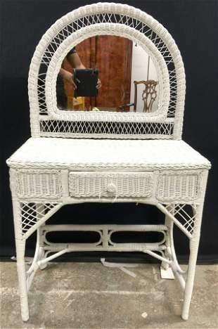 Vintage White Toned Wicker Vanity W Drawer