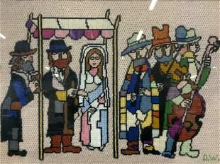 Initialed Needle Point Jewish Wedding Art