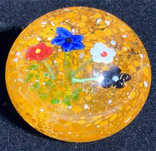 Art Glass Floral Paperweight