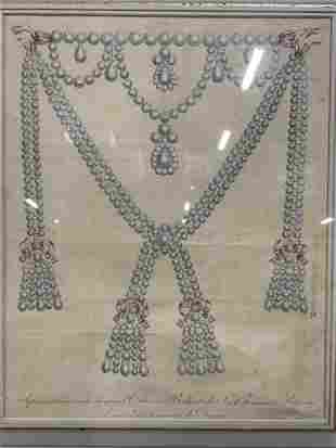 French Lithograph of Jewelry Artwork