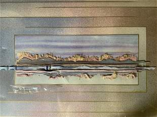 Signed Mixed Media Abstract Lithograph