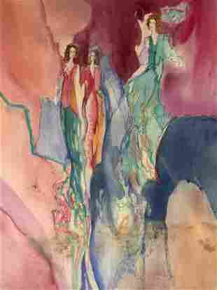 JANE BAZINET Signed Watercolor Painting 1986