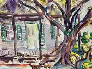 Lot 5 Landscape Watercolors & Lithograph