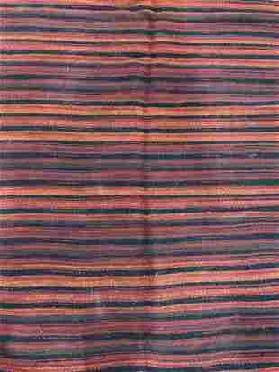 Vintage Handmade Striped Wool Rug