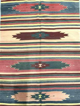 Vintage Navajo Style Handmade Wool Rug