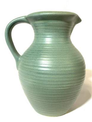 Porcelain Pitcher W Stripe Relief Detail