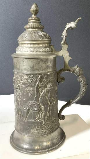 Collectible Embossed Metal Tankard Stein