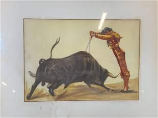 Signed Watercolor Painting of Matador & Bull