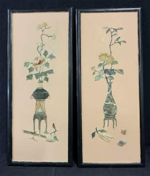 Pair Asian Relief Floral Still Life Panels