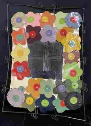 Handmade Arts & Crafts Floral Mirror