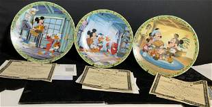 3 Vtg KNOWLES LtdEd Fine China Mickey Mouse Plates