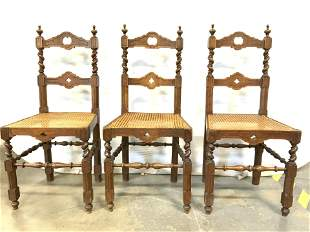 Set 3 Vintage Carved Wooden Caned Side Chairs