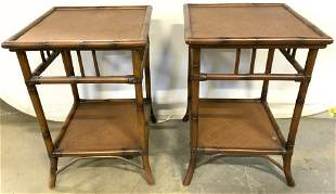 Pr POTTERY BARN Wicker & Bamboo Style Side Tables