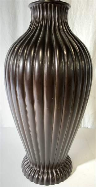 Bronze Toned Metal Table Lamp W Finial