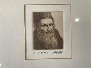 Signed Ltd Ed Copper Etching Portrait