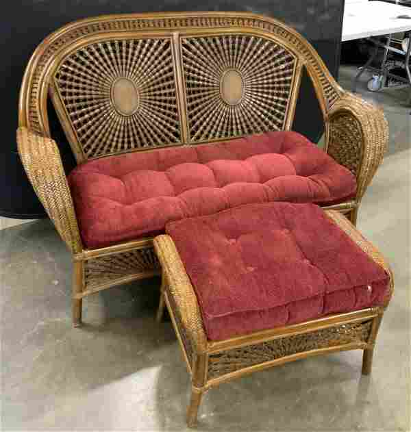 Woven Rattan & Wood Sofa w Ottoman