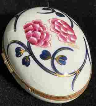 Vintage LIMOGES FRANCE Sign Porcelain Trinket Box