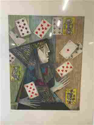 Signed Ltd Ed Lithograph Playing Card Abstract Art