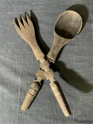 Pair Hand Carved Wooden Salad Servers