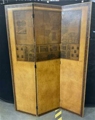 Vintage USA Map Pictorial Screen Divider