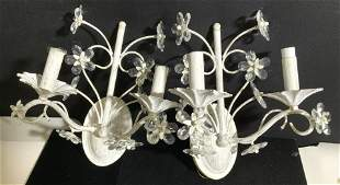 Pair Shabby Chic Toleware Dual Light Sconce