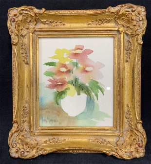 NANCY H. LAWERENCE Signed Floral Watercolor