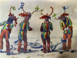 Signed Watercolor Painting of Clowns 1992