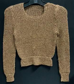 Vintage Knitted Metallic Crop Sweater