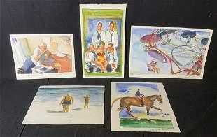 Lot 5 M PARASKAVAS Signed Watercolor Paintings