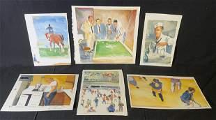 Lot 6 M PARASKAVAS Signed Watercolor Paintings