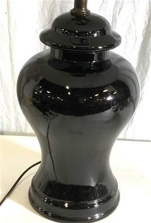 Black Ceramic Tabletop Lamp W/ White Shade