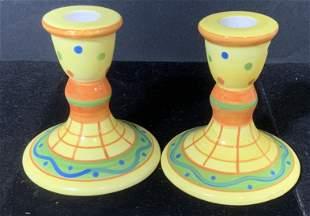 Pair Hand Painted Ceramic Candle Sticks