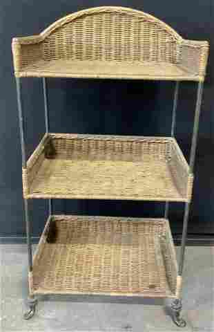 Multi Tier Wicker & Metal Shelves