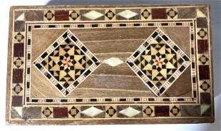Lot 3 Inlaid Lidded Wooden Trinket Boxes