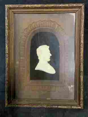 Framed Ceramic Relief of Abraham Lincoln