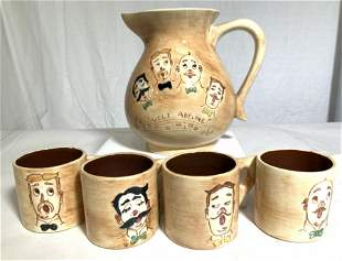 PENNSBURY POTTERY Pitcher & Mug Set 5