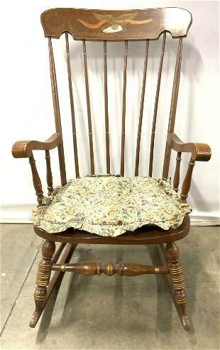 Vtg Painted Spindle Back Wooden Rocking Chair