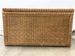 Wooden Chest W Woven Wicker Exterior & Handles