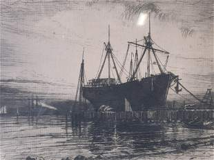Black & White Etching of a Ship Yard