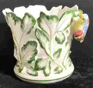 TIFFANY & Co. Italian Porcelain Planter w Bird