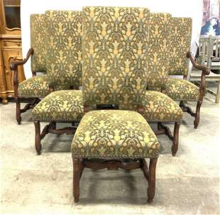 Set 6 Custom Upholstered Wooden Dining Chairs