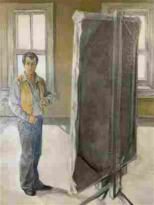 Oil Painting of Man Standing with a Canvas