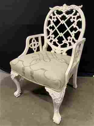 Chippendale Style White Armchair