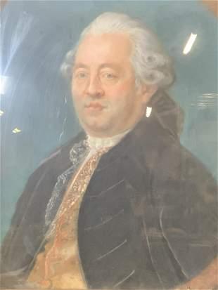 French Antique Oil Pastel Portrait